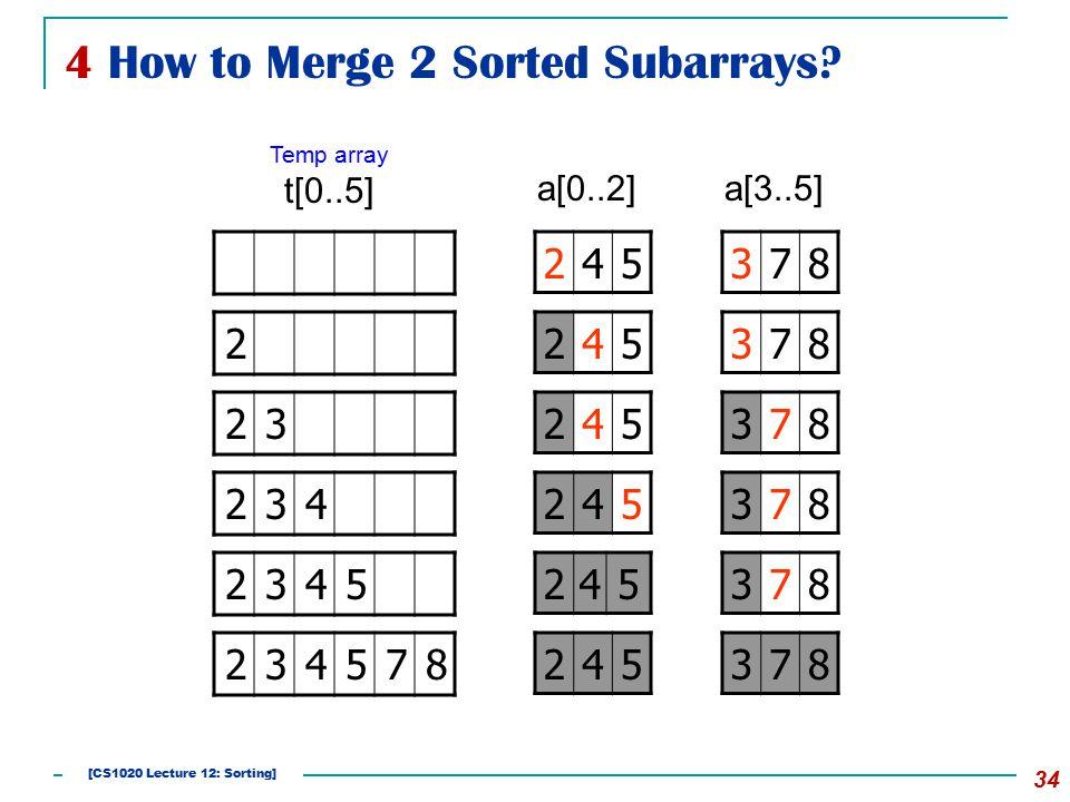 4 How to Merge 2 Sorted Subarrays.