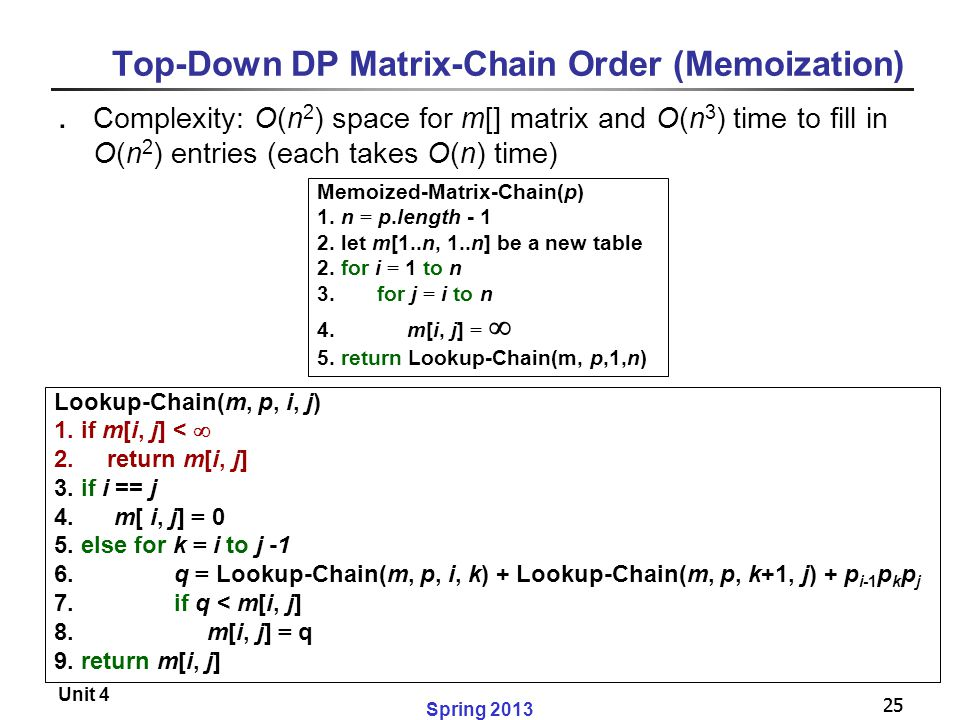 25 Spring 2013 Unit 4 25 Top-Down DP Matrix-Chain Order (Memoization) ․ Complexity: O(n 2 ) space for m[] matrix and O(n 3 ) time to fill in O(n 2 ) e