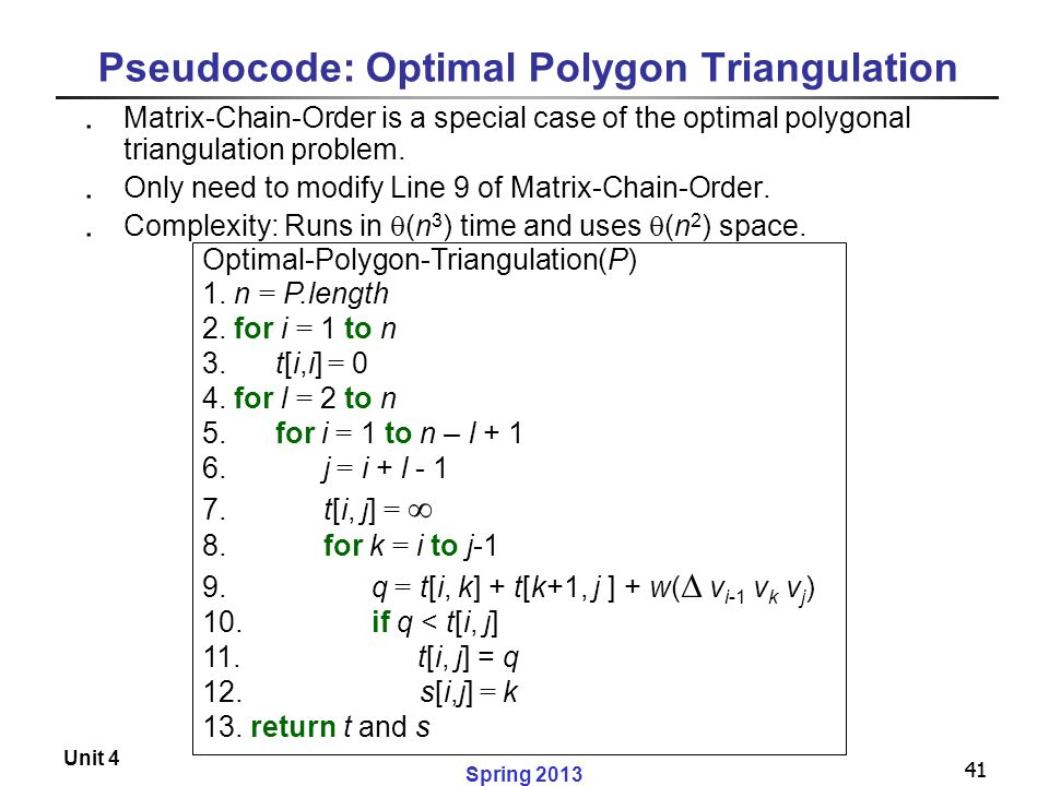 41 Spring 2013 Unit 4 41 Pseudocode: Optimal Polygon Triangulation ․ Matrix-Chain-Order is a special case of the optimal polygonal triangulation probl