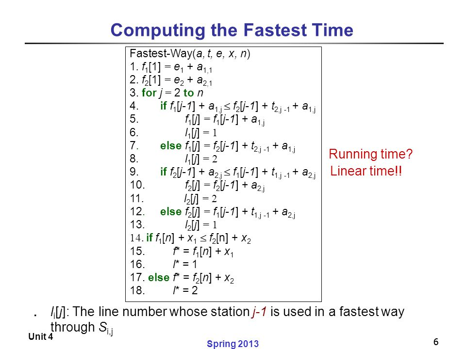 6 Spring 2013 Unit 4 6 Computing the Fastest Time ․ l i [j]: The line number whose station j-1 is used in a fastest way through S i,j Fastest-Way(a, t