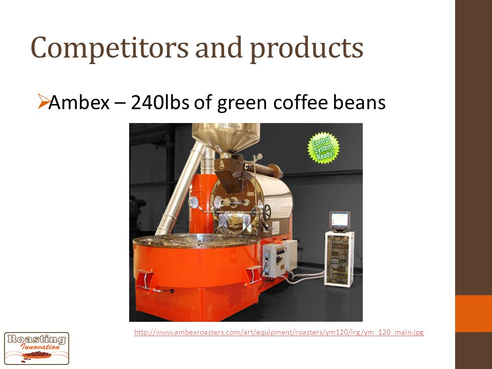 Competitors and products  Ambex – 240lbs of green coffee beans http://www.ambexroasters.com/art/equipment/roasters/ym120/lrg/ym_120_main.jpg