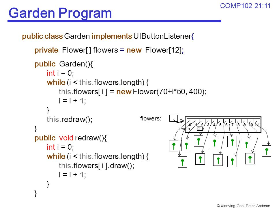 © Xiaoying Gao, Peter Andreae COMP102 21:11 Garden Program public class Garden implements UIButtonListener{ private Flower[ ] flowers = new Flower[12]; public Garden(){ int i = 0; while (i < this.flowers.length) { this.flowers[ i ] = new Flower(70+i*50, 400); i = i + 1; } this.redraw(); } public void redraw(){ int i = 0; while (i < this.flowers.length) { this.flowers[ i ].draw(); i = i + 1; } 12345678910110 length: 12 flowers: