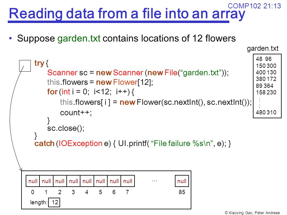 © Xiaoying Gao, Peter Andreae COMP102 21:13 Reading data from a file into an array Suppose garden.txt contains locations of 12 flowers try { Scanner sc = new Scanner (new File( garden.txt )); this.flowers = new Flower[12]; for (int i = 0; i<12; i++) { this.flowers[ i ] = new Flower(sc.nextInt(), sc.nextInt()); count++; } sc.close(); } catch (IOException e) { UI.printf( File failure %s\n , e); } 48 96 150 300 400 130 380 172 89 364 158 230 : 480 310 1234567850 length: 12 null C C A+ ⋯ null garden.txt