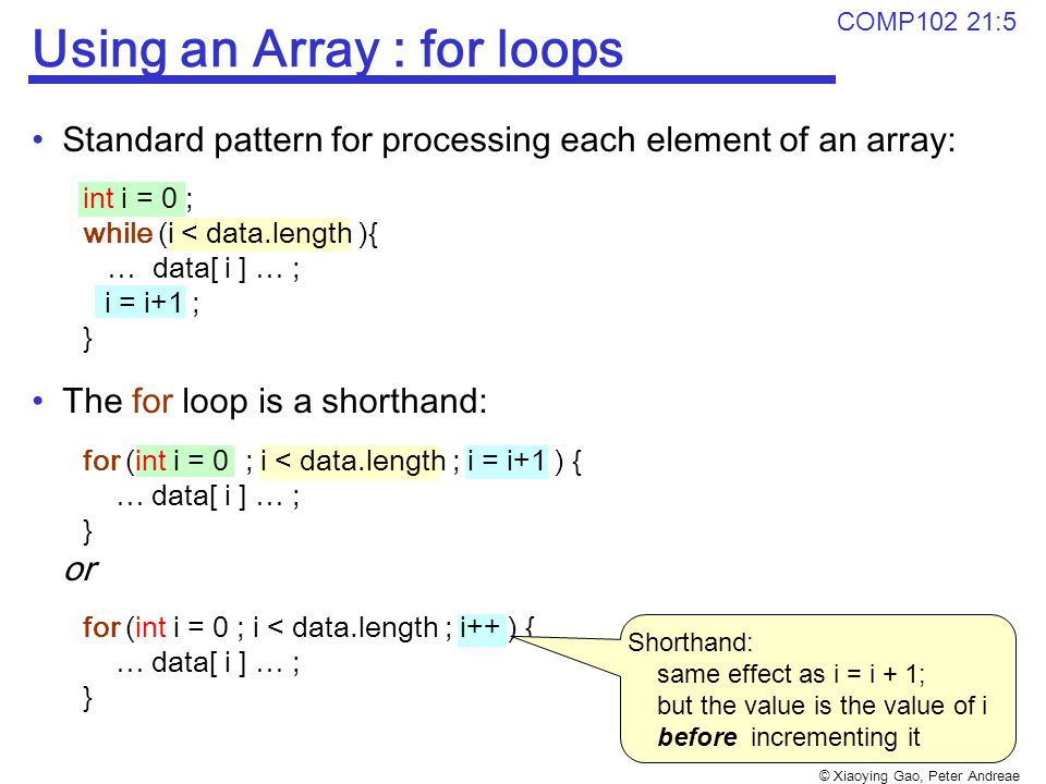 © Xiaoying Gao, Peter Andreae COMP102 21:5 Using an Array : for loops Standard pattern for processing each element of an array: int i = 0 ; while (i < data.length ){ … data[ i ] … ; i = i+1 ; } The for loop is a shorthand: for (int i = 0 ; i < data.length ; i = i+1 ) { … data[ i ] … ; } or for (int i = 0 ; i < data.length ; i++ ) { … data[ i ] … ; } Shorthand: same effect as i = i + 1; but the value is the value of i before incrementing it