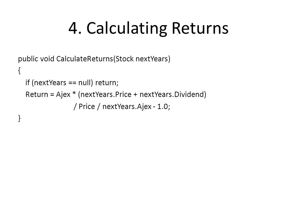 5.A Ranking Stocks Func, List > rankStocks = getTestValue => { var rankAndStock = new List (count); for (var year = 0; year < Years - 1; year++) { var testSortedStockList = yearToStocks[year].Values.ToArray(); var returnSortedIndexes = Enumerable.Range(0, testSortedStockList.Length).ToArray(); Array.Sort(testSortedStockList, (x, y) => getTestValue(x).CompareTo(getTestValue(y))); Array.Sort(testSortedStockList.Select(s => s.Return.Value).ToArray(), returnSortedIndexes);