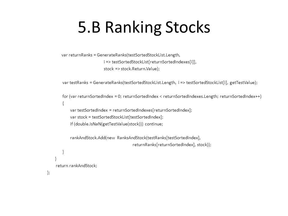 5.B Ranking Stocks var returnRanks = GenerateRanks(testSortedStockList.Length, i => testSortedStockList[returnSortedIndexes[i]], stock => stock.Return.Value); var testRanks = GenerateRanks(testSortedStockList.Length, i => testSortedStockList[i], getTestValue); for (var returnSortedIndex = 0; returnSortedIndex < returnSortedIndexes.Length; returnSortedIndex++) { var testSortedIndex = returnSortedIndexes[returnSortedIndex]; var stock = testSortedStockList[testSortedIndex]; if (double.IsNaN(getTestValue(stock))) continue; rankAndStock.Add(new RanksAndStock(testRanks[testSortedIndex], returnRanks[returnSortedIndex], stock)); } return rankAndStock; };