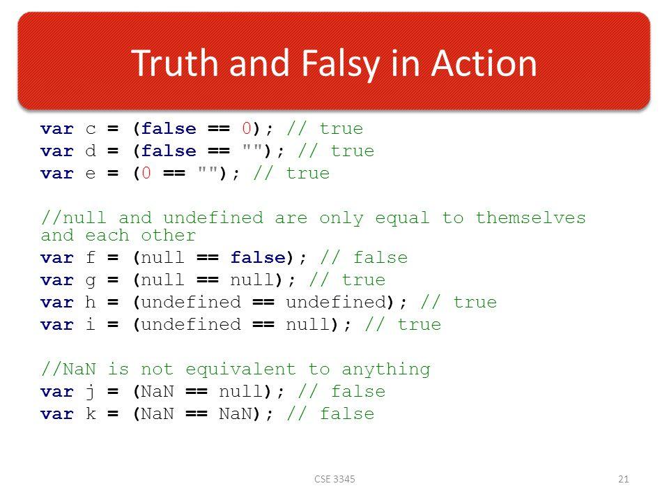 Truth and Falsy in Action var c = (false == 0); // true var d = (false == ); // true var e = (0 == ); // true //null and undefined are only equal to themselves and each other var f = (null == false); // false var g = (null == null); // true var h = (undefined == undefined); // true var i = (undefined == null); // true //NaN is not equivalent to anything var j = (NaN == null); // false var k = (NaN == NaN); // false CSE 334521