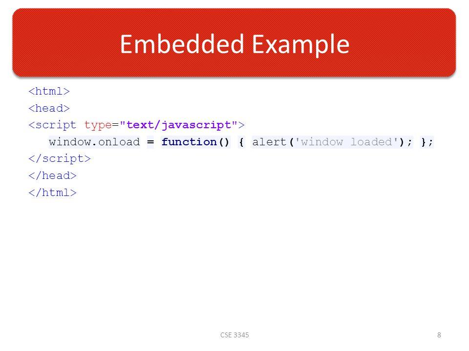 Embedded Example window.onload = function() { alert( window loaded ); }; CSE 33458