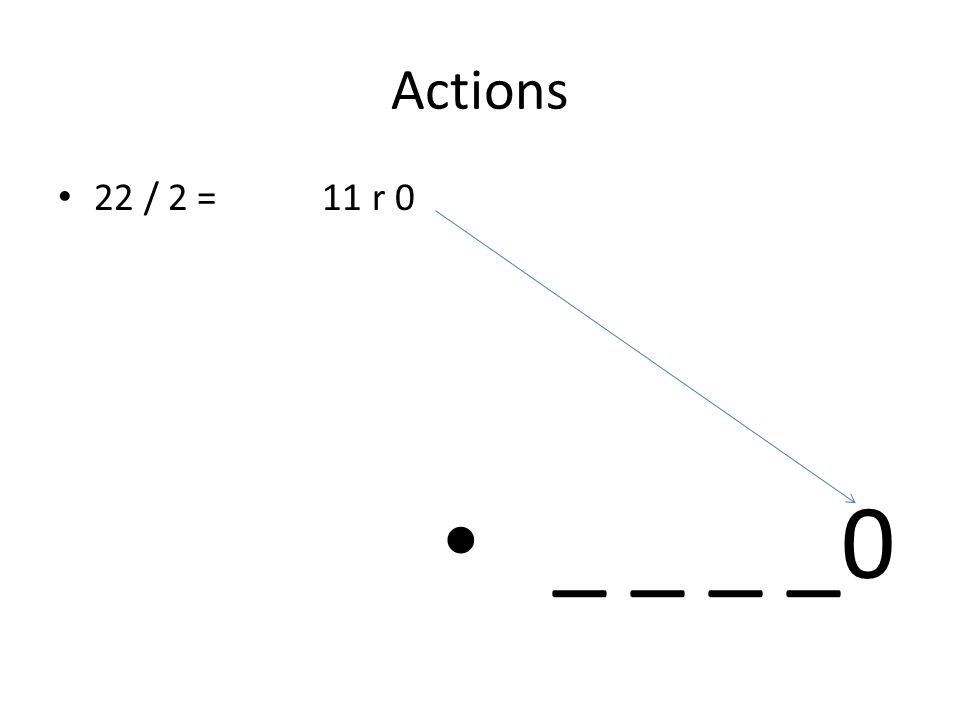 Actions 22 / 2 = 11 r 0 _ _ _ _0