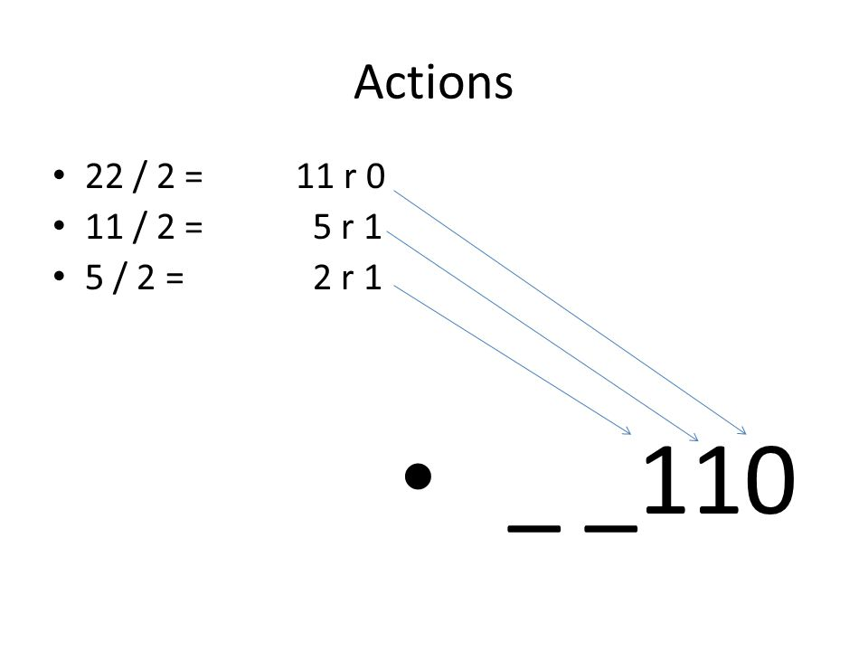 Actions 22 / 2 = 11 r 0 11 / 2 = 5 r 1 5 / 2 = 2 r 1 _ _110