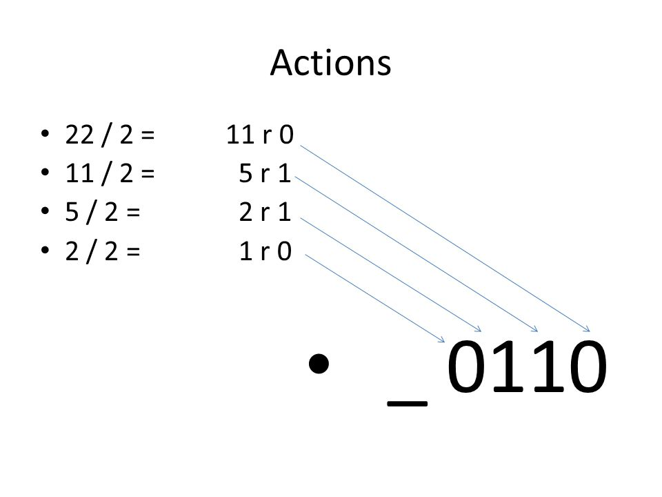 Actions 22 / 2 = 11 r 0 11 / 2 = 5 r 1 5 / 2 = 2 r 1 2 / 2 = 1 r 0 _ 0110