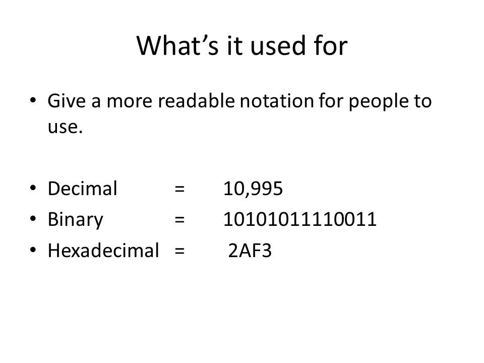 What's it used for Give a more readable notation for people to use.
