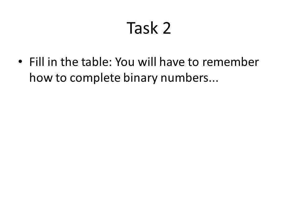 Task 2 Fill in the table: You will have to remember how to complete binary numbers...