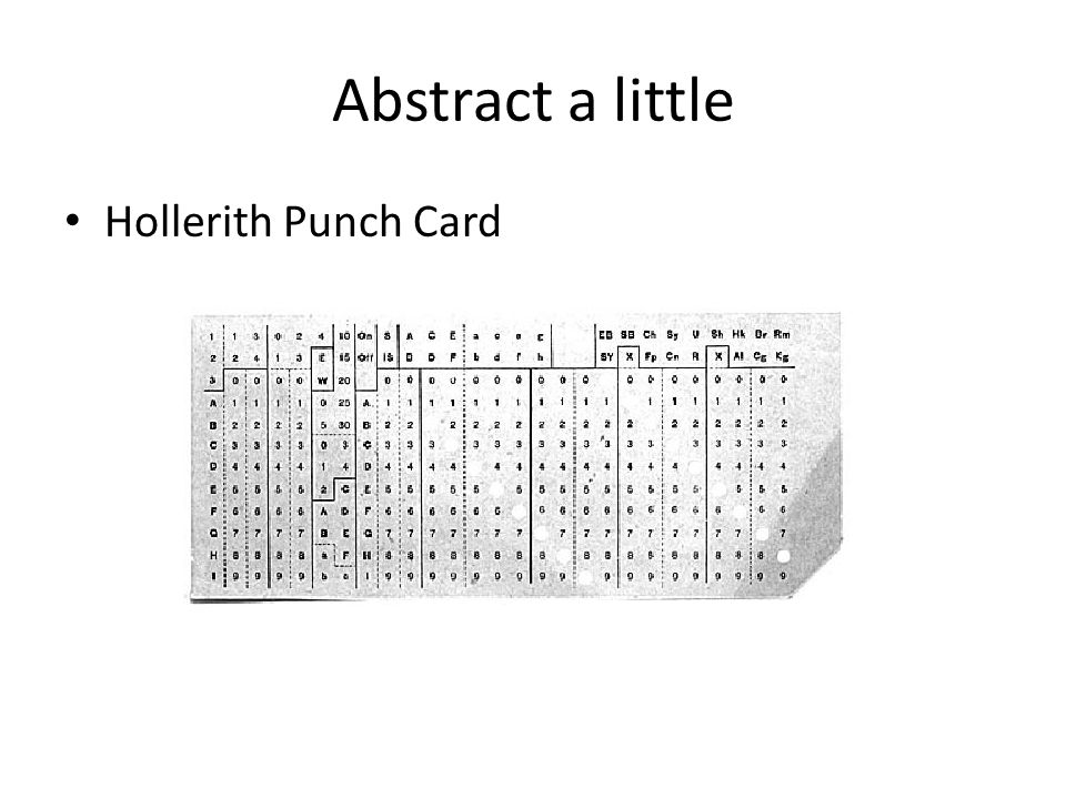 Abstract a little Hollerith Punch Card