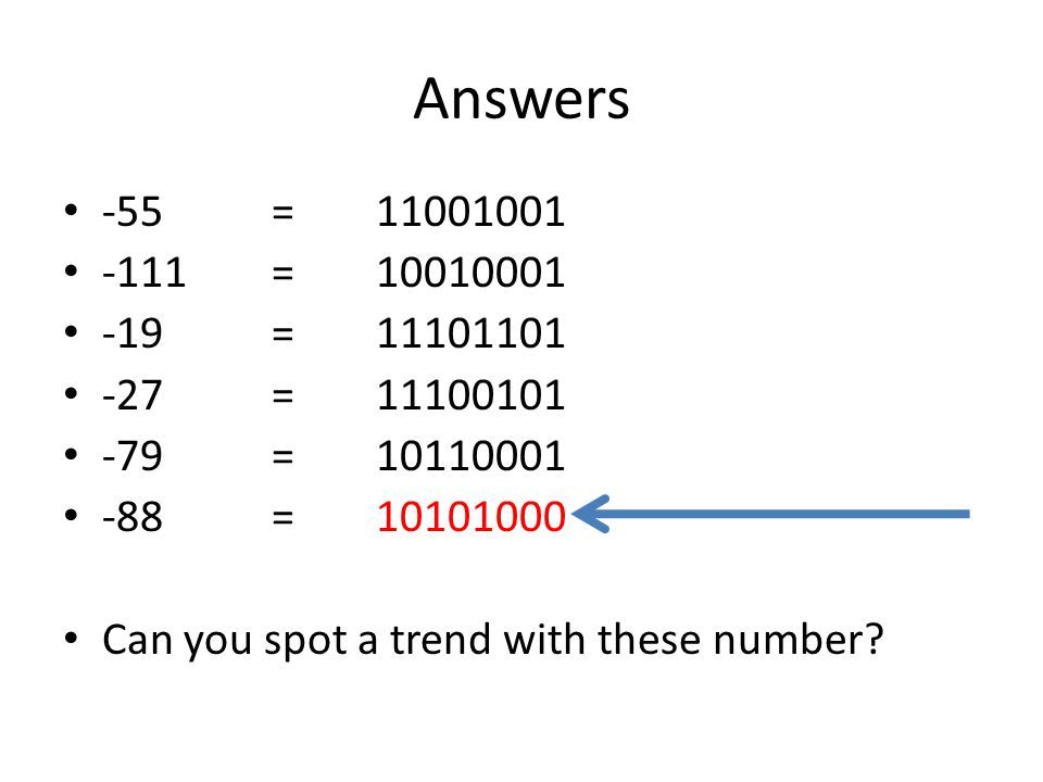 Answers -55=11001001 -111=10010001 -19=11101101 -27=11100101 -79=10110001 -88=10101000 Can you spot a trend with these number