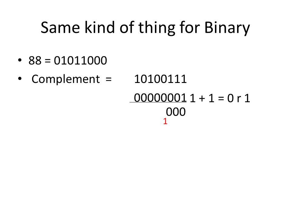 Same kind of thing for Binary 88 = 01011000 Complement = 10100111 00000001 1 + 1 = 0 r 1 000 1