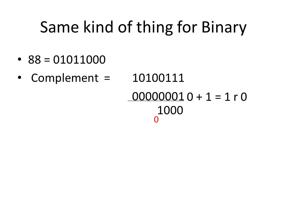 Same kind of thing for Binary 88 = 01011000 Complement = 10100111 00000001 0 + 1 = 1 r 0 1000 0