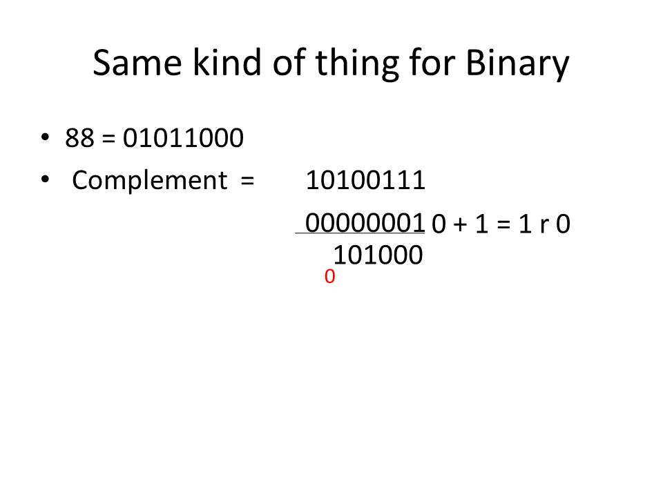 Same kind of thing for Binary 88 = 01011000 Complement = 10100111 00000001 0 + 1 = 1 r 0 101000 0