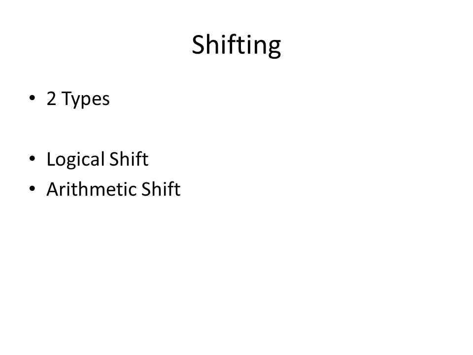 Shifting 2 Types Logical Shift Arithmetic Shift