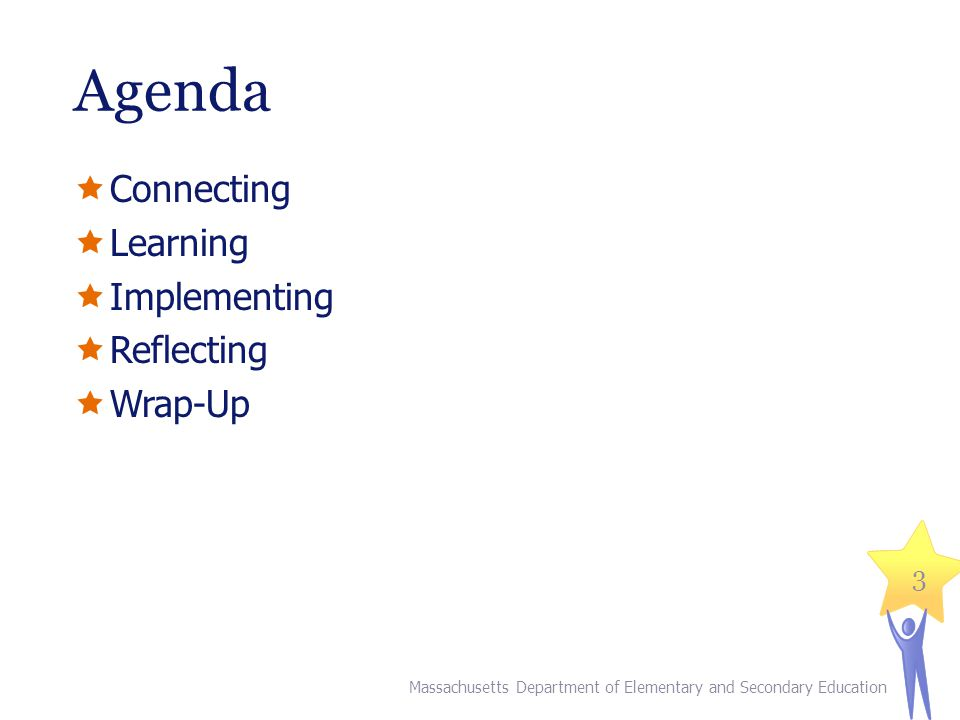 Agenda  Connecting  Learning  Implementing  Reflecting  Wrap-Up Massachusetts Department of Elementary and Secondary Education 3