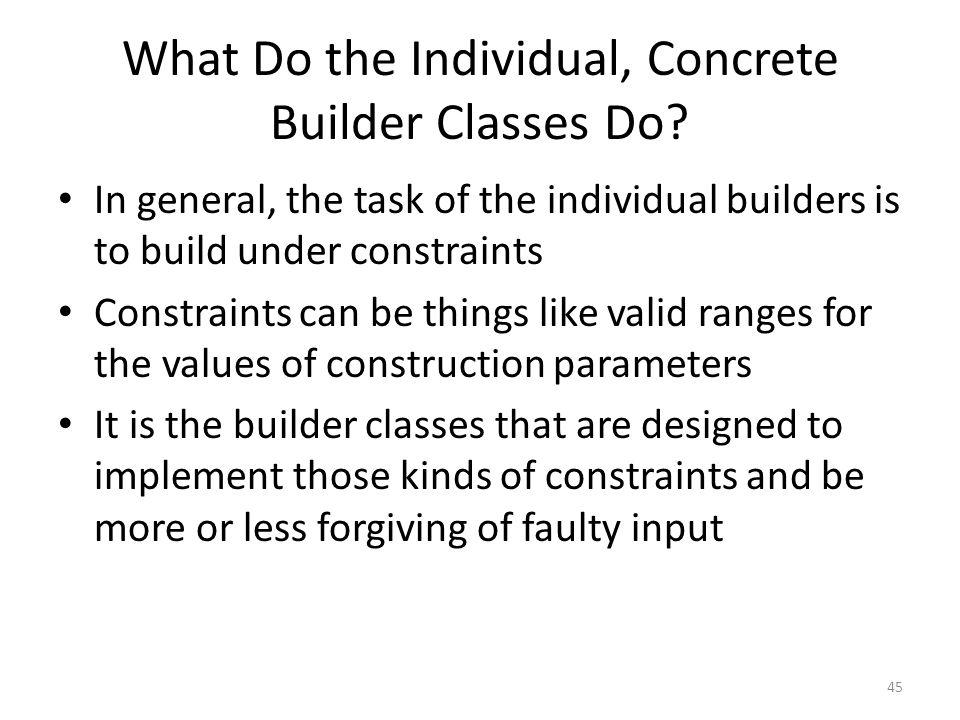 What Do the Individual, Concrete Builder Classes Do.