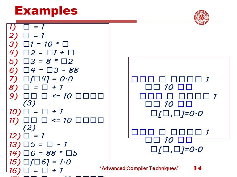 Examples 14 1) i = 1 2) j = 1 3) t 1 = 10 * i 4) t 2 = t 1 + j 5) t 3 = 8 * t 2 6) t 4 = t 3 - 88 7) a [ t 4] = 0.0 8) j = j + 1 9) if j <= 10 goto (3) 10) i = i + 1 11) if i <= 10 goto (2) 12) i = 1 13) t 5 = i - 1 14) t 6 = 88 * t 5 15) a [ t 6] = 1.0 16) i = i + 1 17) if i <= 10 goto (13) for i from 1 to 10 do for j from 1 to 10 do a [ i, j ]=0.0 for i from 1 to 10 do a [ i, i ]=0.0 Advanced Compiler Techniques