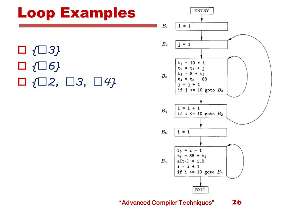 Advanced Compiler Techniques Loop Examples  { B 3}  { B 6}  { B 2, B 3, B 4} 26