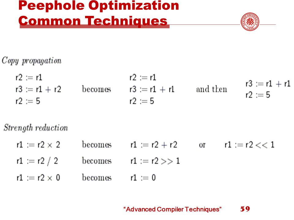 Advanced Compiler Techniques Peephole Optimization Common Techniques 59