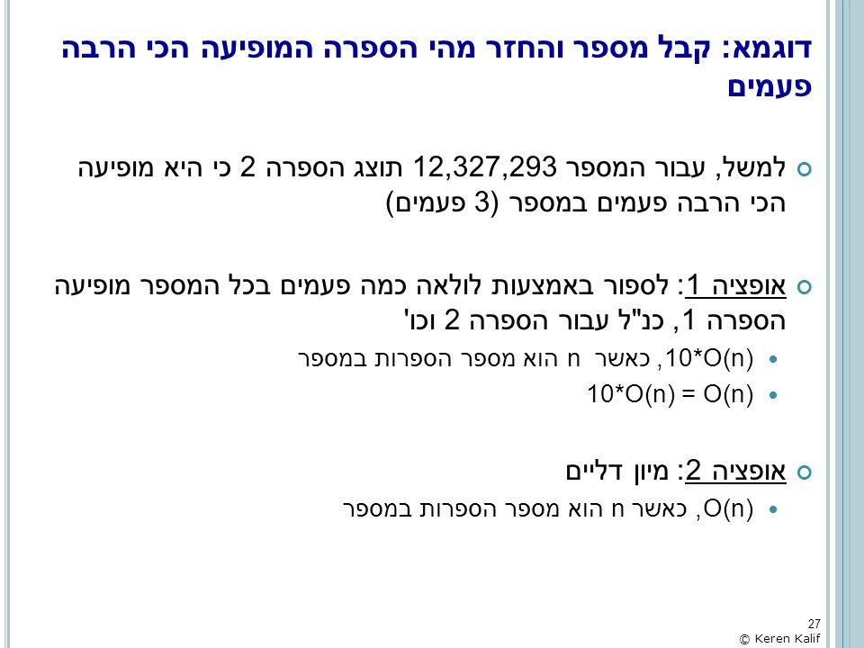 דוגמא: קבל מספר והחזר מהי הספרה המופיעה הכי הרבה פעמים למשל, עבור המספר 12,327,293 תוצג הספרה 2 כי היא מופיעה הכי הרבה פעמים במספר (3 פעמים) אופציה 1: