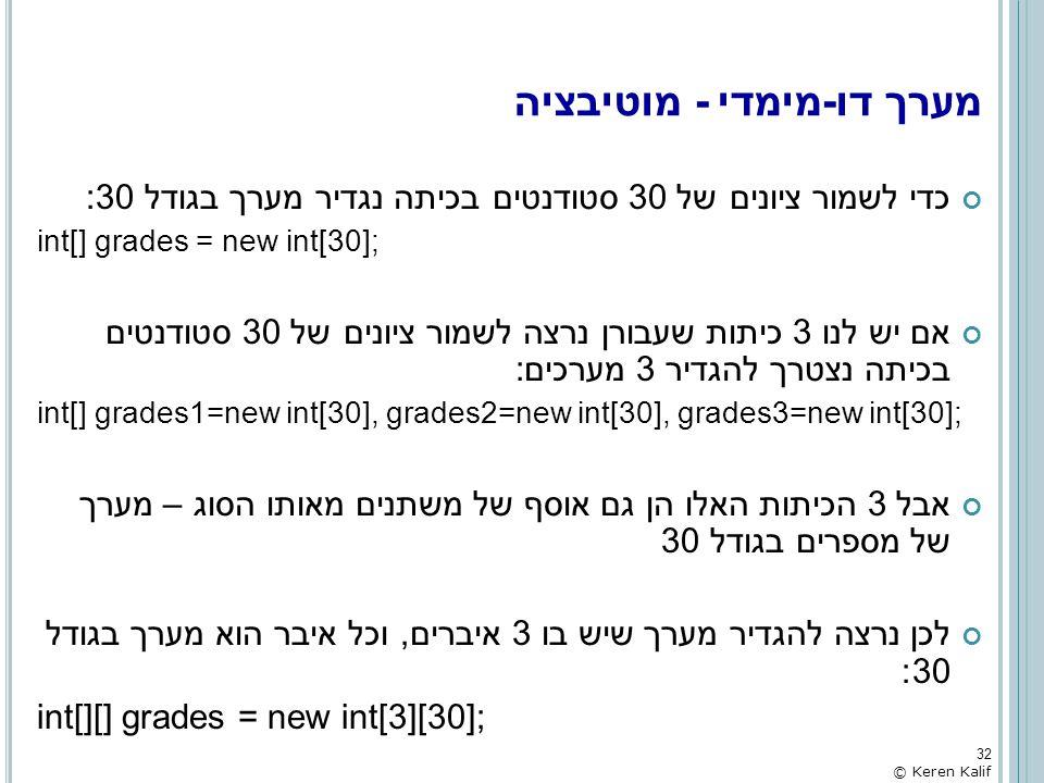 מערך דו-מימדי - מוטיבציה כדי לשמור ציונים של 30 סטודנטים בכיתה נגדיר מערך בגודל 30: int[] grades = new int[30]; אם יש לנו 3 כיתות שעבורן נרצה לשמור צי