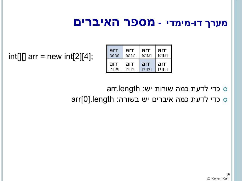 int[][] arr = new int[2][4]; כדי לדעת כמה שורות יש: arr.length כדי לדעת כמה איברים יש בשורה: arr[0].length מערך דו-מימדי - מספר האיברים arr [0][0] arr