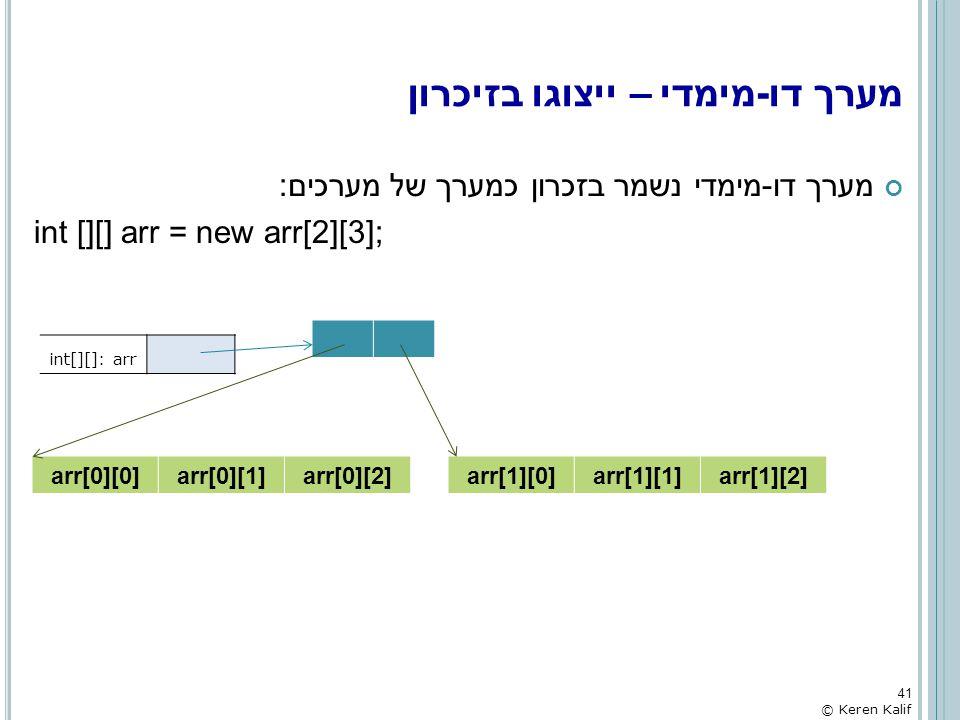 מערך דו-מימדי נשמר בזכרון כמערך של מערכים: int [][] arr = new arr[2][3]; מערך דו-מימדי – ייצוגו בזיכרון 41 © Keren Kalif int[][]: arr arr[0][0]arr[0][