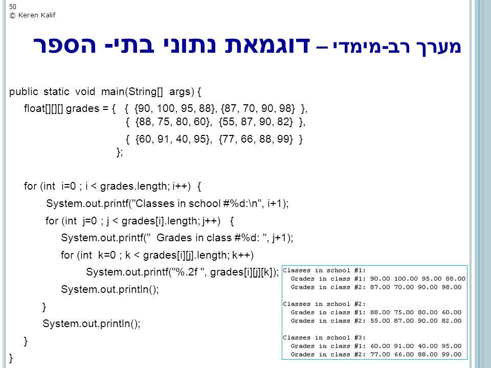 מערך רב-מימדי – דוגמאת נתוני בתי- הספר public static void main(String[] args) { float[][][] grades = { { {90, 100, 95, 88}, {87, 70, 90, 98} }, { {88,