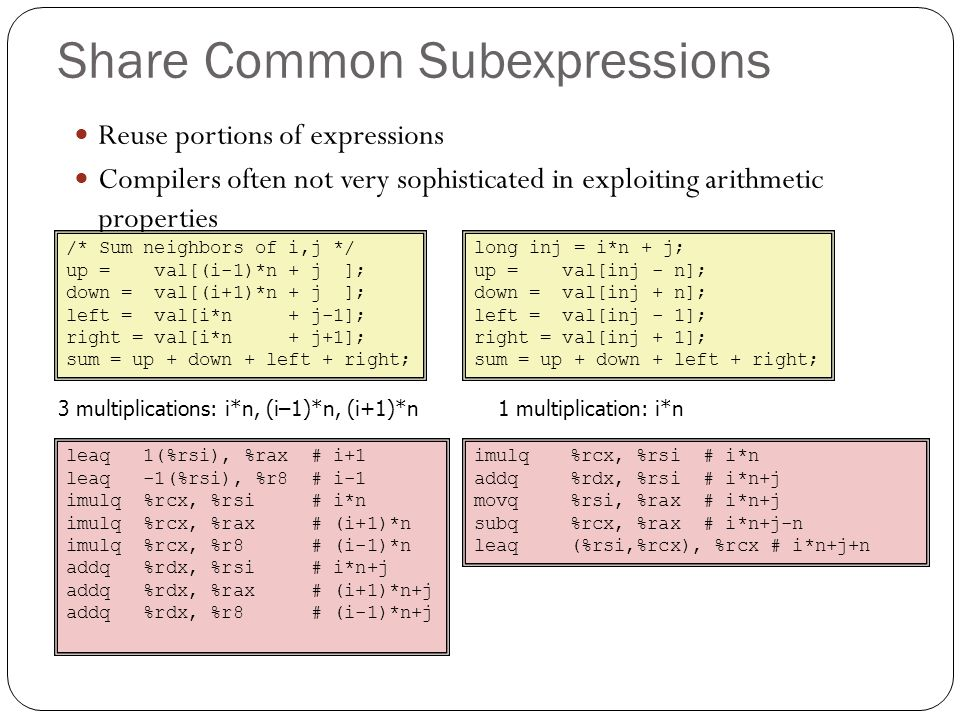 Share Common Subexpressions Reuse portions of expressions Compilers often not very sophisticated in exploiting arithmetic properties /* Sum neighbors