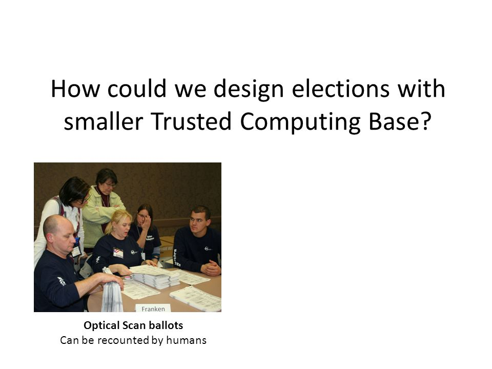How could we design elections with smaller Trusted Computing Base.