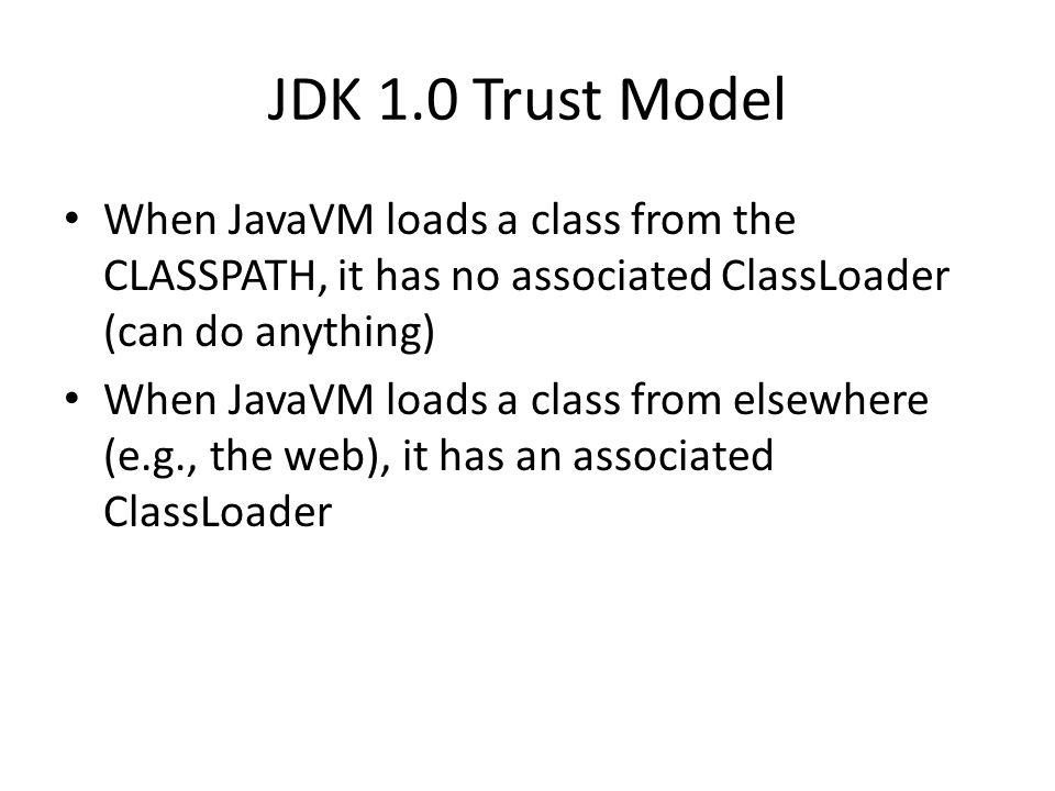 JDK 1.0 Trust Model When JavaVM loads a class from the CLASSPATH, it has no associated ClassLoader (can do anything) When JavaVM loads a class from el