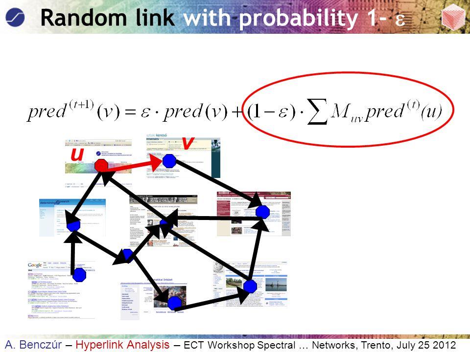 A. Benczúr – Hyperlink Analysis – ECT Workshop Spectral … Networks, Trento, July 25 2012 u Random link with probability 1-  v