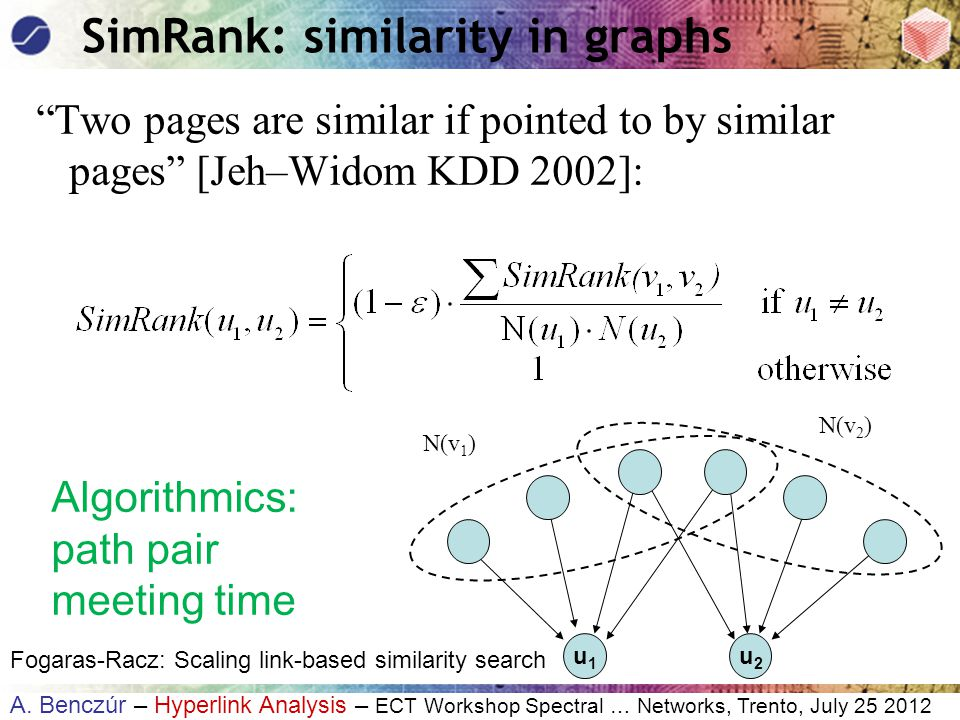 """A. Benczúr – Hyperlink Analysis – ECT Workshop Spectral … Networks, Trento, July 25 2012 SimRank: similarity in graphs """"Two pages are similar if point"""