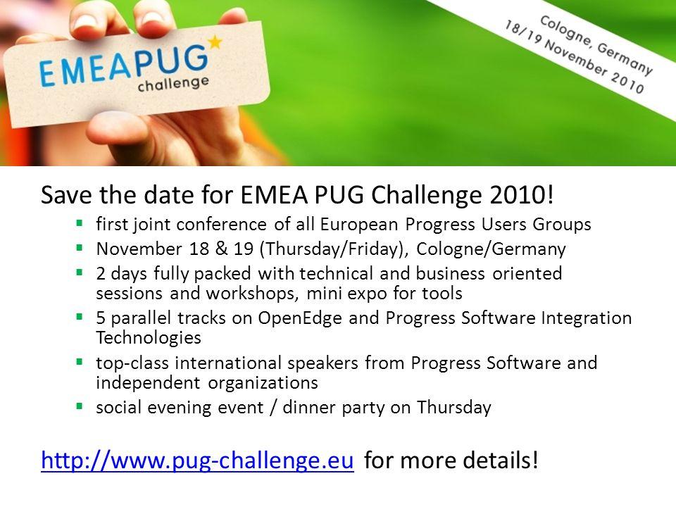 Save the date for EMEA PUG Challenge 2010.