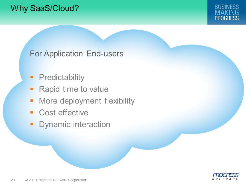 © 2010 Progress Software Corporation20 Why SaaS/Cloud.