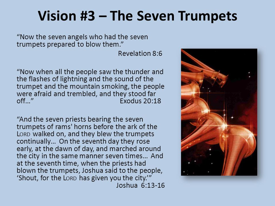 Vision #3 – The Seven Trumpets Now the seven angels who had the seven trumpets prepared to blow them. Revelation 8:6 Now when all the people saw the thunder and the flashes of lightning and the sound of the trumpet and the mountain smoking, the people were afraid and trembled, and they stood far off… Exodus 20:18 And the seven priests bearing the seven trumpets of rams horns before the ark of the L ORD walked on, and they blew the trumpets continually… On the seventh day they rose early, at the dawn of day, and marched around the city in the same manner seven times… And at the seventh time, when the priests had blown the trumpets, Joshua said to the people, 'Shout, for the L ORD has given you the city.' Joshua 6:13-16