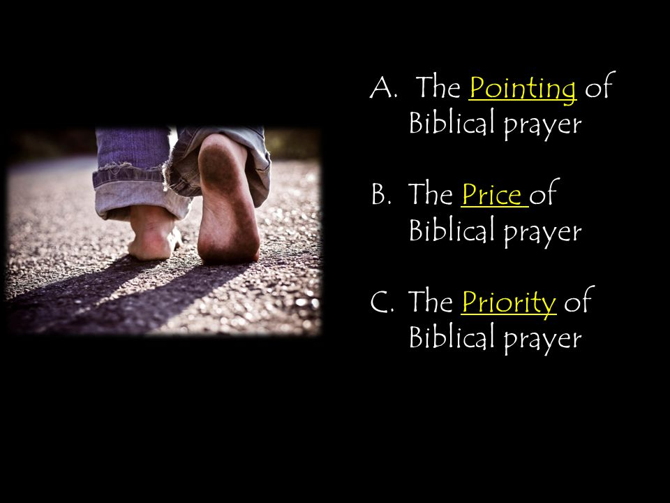 A. The Pointing of Biblical prayer B.The Price of Biblical prayer C.The Priority of Biblical prayer