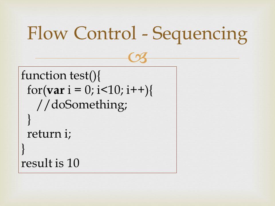  Flow Control - Sequencing function test(){ for( var i = 0; i<10; i++){ //doSomething; } return i; } result is 10