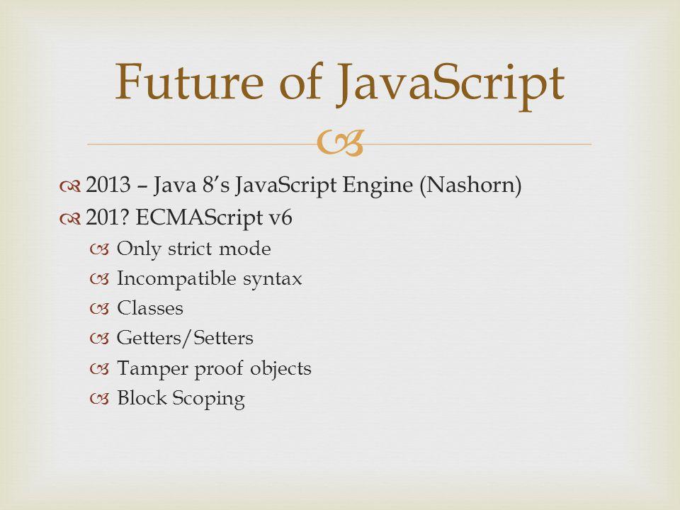   2013 – Java 8's JavaScript Engine (Nashorn)  201.