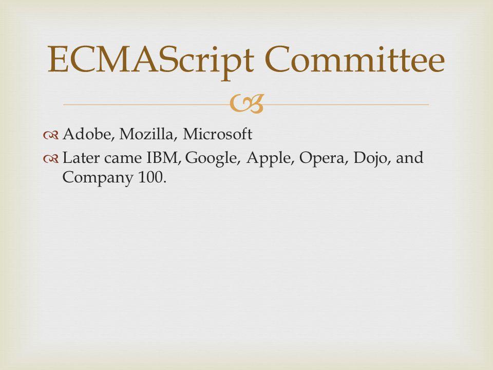   Adobe, Mozilla, Microsoft  Later came IBM, Google, Apple, Opera, Dojo, and Company 100.