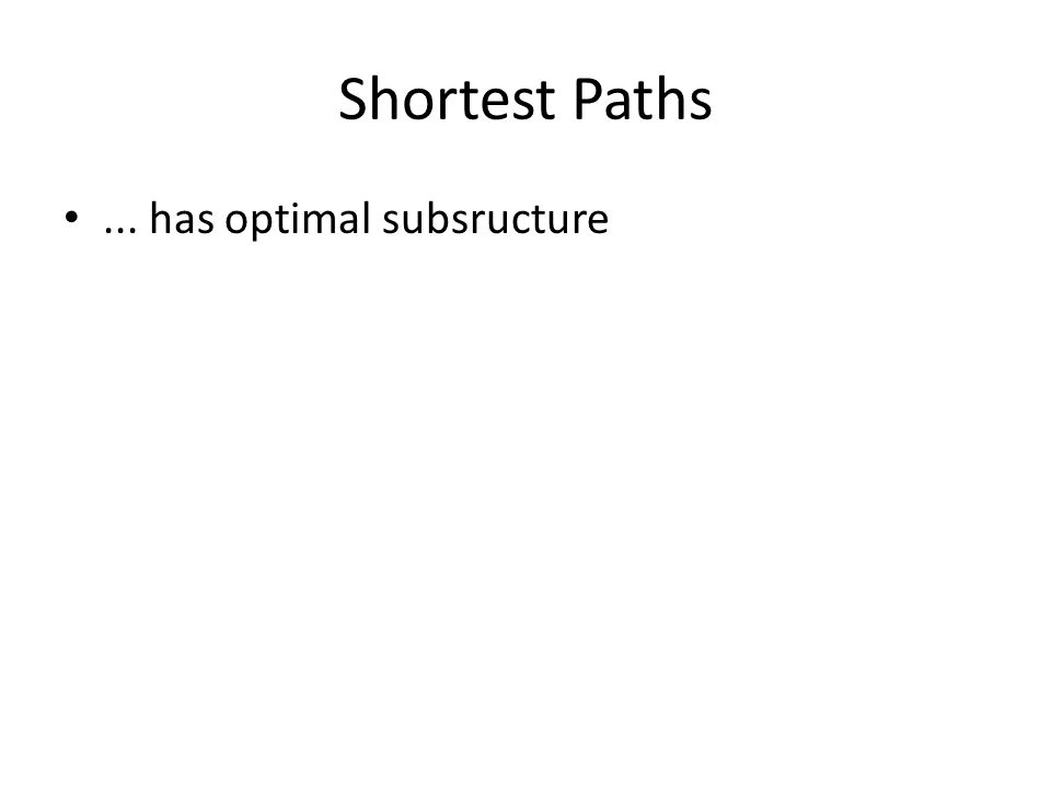 Shortest Paths... has optimal subsructure