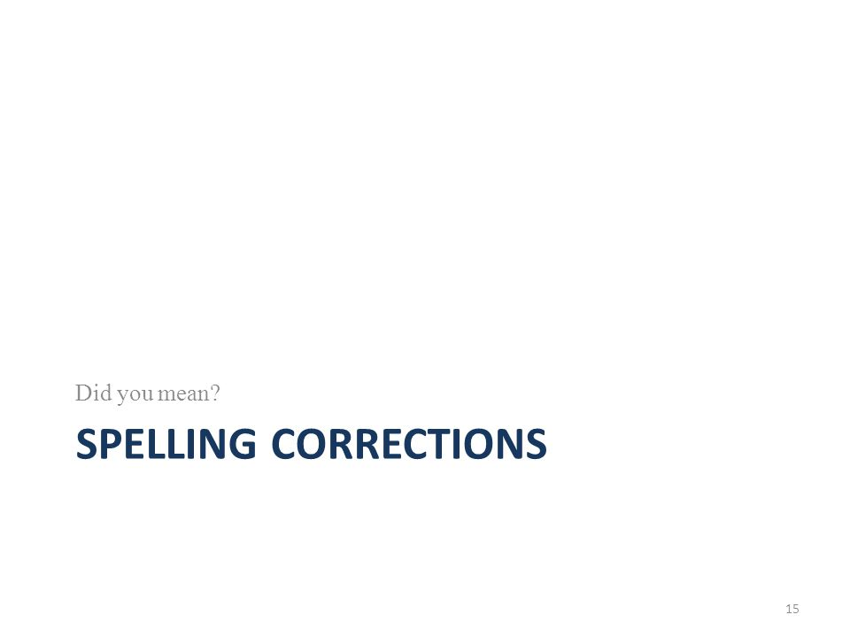 SPELLING CORRECTIONS Did you mean? 15