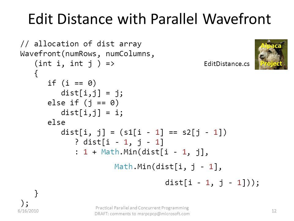 Edit Distance with Parallel Wavefront // allocation of dist array Wavefront(numRows, numColumns, (int i, int j ) => { if (i == 0) dist[i,j] = j; else