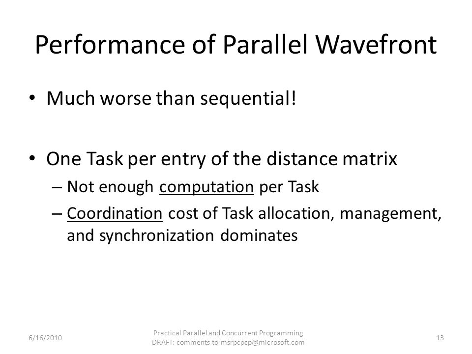 Performance of Parallel Wavefront Much worse than sequential.