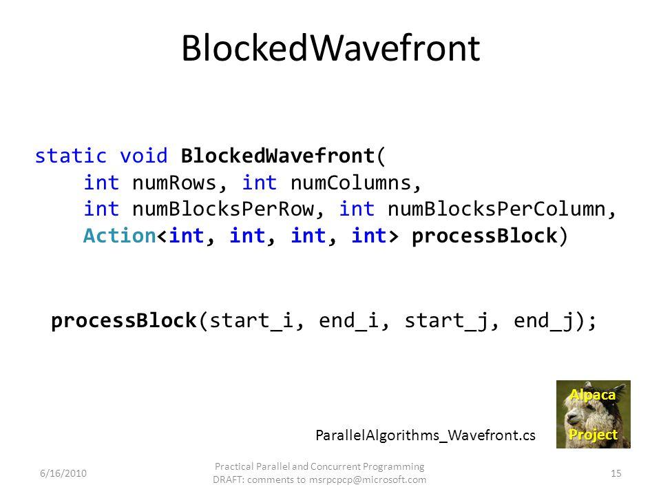 BlockedWavefront static void BlockedWavefront( int numRows, int numColumns, int numBlocksPerRow, int numBlocksPerColumn, Action processBlock) 6/16/201